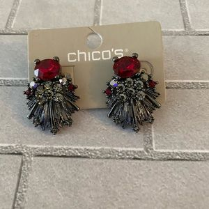 Chico's Earrings Red Silver New